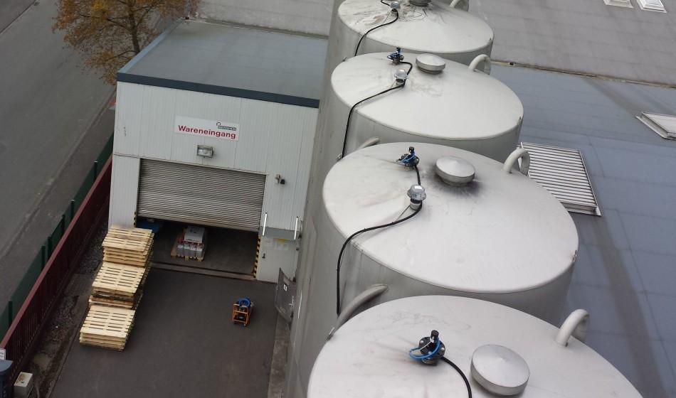 Laser niveaumeting van granulaat in silo Intercontrol Nederland